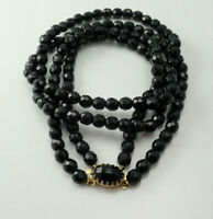 """Vintage Black Faceted Crystal Double Strand Ornate Claps Gold Tone 24"""" Necklace"""