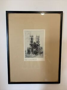 Edward J Cherry 'Westminster Abbey' Signed Artist Proof Etching
