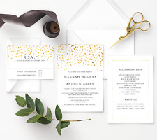 Personalised Wedding Invitation Set Gold Foil Confetti FREE Envelopes