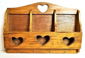 Vintage Wooden Mail Sorter and Key Ring Hooks Wall Hanging Rack Heart Cutouts
