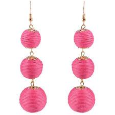 1 Pair Women Fashion Long Pom Pom Ball Drop Dangle Ear Stud Earrings Jewelry