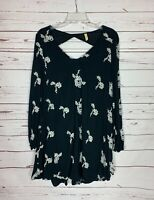 Free People Women's S Small Black White Embroidered Pockets Tunic Cute Dress