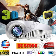 5000 LUMENS 3D 1080P FULL HD HOME THEATER MULTIMEDIA USB HDMI VGA LED PROJECTOR