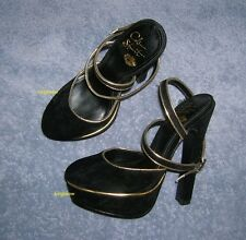 "Colin Stuart 6"" Heel Shoes Womens 5 Slingback Platform Pumps Black Gold Cute New"