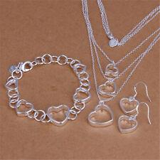 925 silver women Charm heart Pretty wedding bracelet necklace earring jewelry