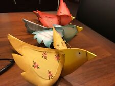 Decorative paper wood ornamental birds set of three