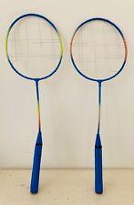 2 Pieces Blue Badminton Racket Set Family Double Badminton Rackets