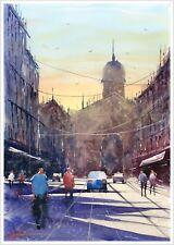 Se Elliston Grandes Obras De Arte Pintura Original Ciudad Calle A2 Acuarela Firmado