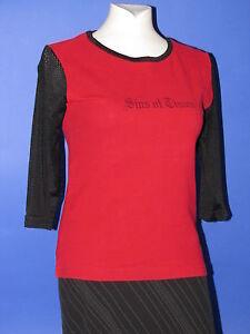 Damenshirt Shirt Gr. S 3/4 Arm rot schwarz Lochmuster Damen Mädchen Girls