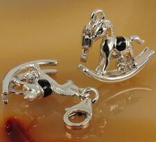 Charm 925 Silber 3D Pferd / Schaukelpferd Bettelarmband Anhänger Charms NEU