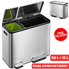 Intelligent Dual Compartment Stainless Steel Recycle Step Trash Can 30 L & 15 L