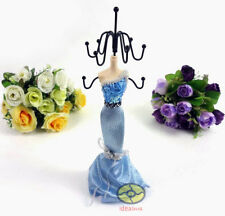 """BLUE 10""""tall Mannequin Dress Earring Necklace Ring Jewelry Holder Stand Display"""