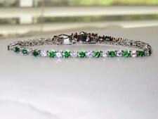 46904 7'' AAA GRADE SIMULATED DIAMOND TENNIS BRACELET EMERALD 9CTS WOMENS