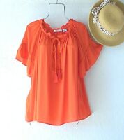 New~JPR~Citrus Orange Peasant Blouse Ruffle Sleeve Shirt Boho Top~Size Medium M
