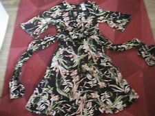 """DRESS  SIZE 12 PETITE MARKS & SPENCER NEW & TAG BLACK PEACH GREEN FLORAL L 41"""""""