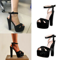 Onlymaker Lady Platform High Heel Slingback Sandals Ankle Strap Cross Band Shoes