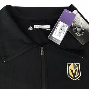 NHL Adidas Climalite Vegas Golden Knights 1/4 Zip Pullover Long Sleeve Black NWT