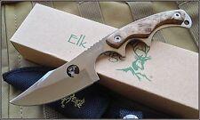 Couteau Elk Ridge Upswept Hunter Lame Acier 440 Découpe laser Manche Bois ER534
