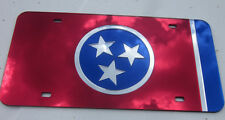 TENNESSEE STATE FLAG CHROME CUSTOM MIRROR LASER CUT ACRYLIC LICENSE PLATE