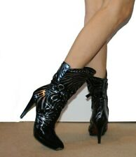 Sexy High Heel Boots 5 38 Black Real Leather Metallic Studded Fetish Well Worn