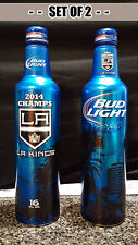 SET OF 2 Bud Light LA Kings 2014 Stanley Cup Champs Aluminum Beer Bottle Limited