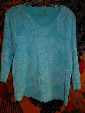 FRESH PRODUCE Aqua Blue White Floral S Cotton 3/4 S Pullover Top Shirt Size S  M
