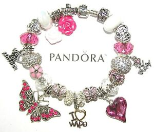 Authentic PANDORA Bracelet Silver with WIFE MOM BUTTERFLY, GIFT European Charms