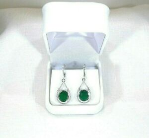 4.64 ct Natural Green Agate Solid Sterling Silver Rope Knot Leverback Earrings
