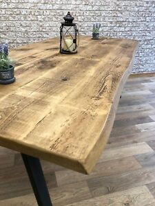 Industrial Dining Table Live Edge Steel A-Frame Dining Kitchen Rustic