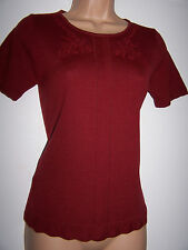 LAURA ASHLEY VINTAGE, MULBERRY 100% WOOL, FINE KNIT, SHORT SLEEVE JUMPER 8/10 UK