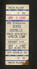 1989 Elvis Costello Nick Lowe Concert Ticket Keaney Gym Kingston Rhode Island