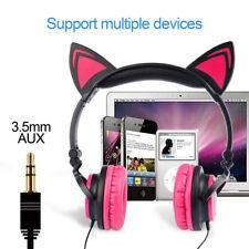 Pink Cat Earphone Headphones LED Gaming Flashing Glowing Headset For Girl Gift