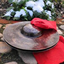 32cm Pair Tibetan Temple Ritual Bell Metal Bell Bronze Cymbals Hand Bell #1574