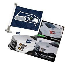 Seattle Seahawks 4x6 Size Car Flag 2-pc Ambassador NFL Football Trunk Hood