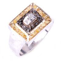 Handmade RAW WHITE/GOLDEN NATURAL DIAMOND .925 Sterling SILVER Men's RING SIZE 9
