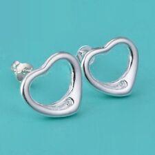 Womens 925 Sterling Silver Plated Heart Stud Earrings.12mm in size