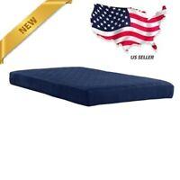 6 Twin Size Quilted Top Bunk Bed Futon Fiber Mattress Dorm Kids Bedroom BLUE