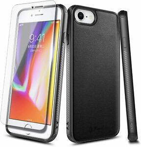 For iPhone SE 2020 (2nd Gen) / iPhone 8 / 7 Case Leather Cover + Tempered Glass