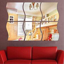 6x Sticker Mural Miroir DIY 3D Vague Moderne Autocollant Amovible Déco Maison NF