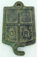 .VINTAGE / ANTIQUE QR QUEENSLAND RAIL CAST IRON AXEL BOX LID. SERIAL No W Z A 15