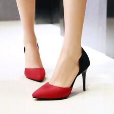 Ladies Faux Suede Pointed Toe Contrast Color High Heel Pumps Shoes Plus Size