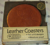 VINTAGE 1970s-80s UNUSED LEATHER COASTERS! SET OF 6! GARDEN DESIGN! MADE IN USA