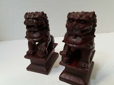"""Pair Set Of 2 Foo Dog Chinese Guardian Lion Statue Figurine Red Resin 4.5"""" Tall"""