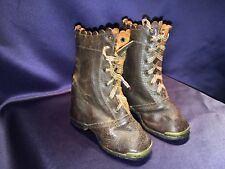 Antique Civil War Era Patent Date 1855 Small Boys Leather Boots Brass Tips