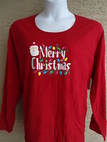 NWT JUST MY SIZE 4X  L/S  GLITZY MERRY CHRISTMAS GRAPHIC TEE TOP RED