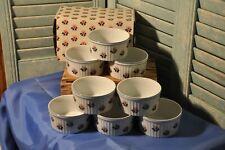 Vintage Set of 8 Schmid 4 Inch Ramekin Mini Souffle Floral Brasserie Dishes