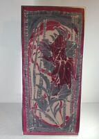 Original Framed Batik Tapestry Art Purple Gray Flowers Floral Designs Large