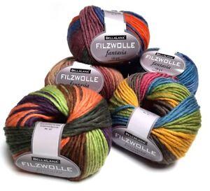 100 g Filzwolle FANTASIA color von BellaLana zum waschfilzen verschiedene Farben