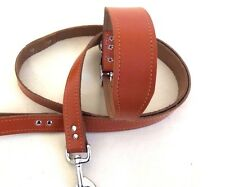 1.5M LONG TAN REAL LEATHER DOG LEAD & MATCHING BAR COLLAR GREYHOUND LURCHER