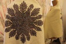 Antiguo Bordado A Mano Luna Chal Ditsy Vintage de Lana de Cachemira